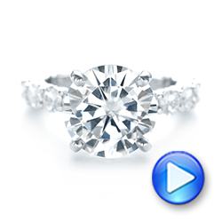 14k White Gold Custom Diamond Engagement Ring - Video -  103336 - Thumbnail