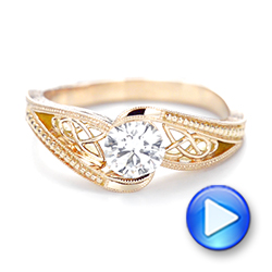Custom Rose Gold Hand Engraved Solitaire Diamond Engagement Ring - Interactive Video - 103338 - Thumbnail