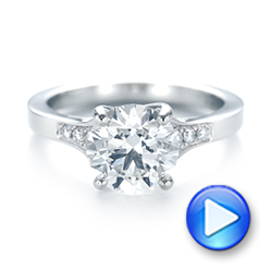 Custom Tapering Diamond Engagement Ring - Interactive Video - 103339 - Thumbnail