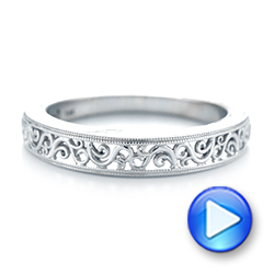 Custom Hand Engraved Filigree Wedding Band - Interactive Video - 103341 - Thumbnail