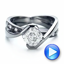 Custom Black and White Diamond Engagement Ring - Interactive Video - 103342 - Thumbnail