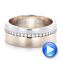 Custom Two-Tone Rose Gold and Platinum Diamond Men's Band - Interactive Video - 103347 - Thumbnail