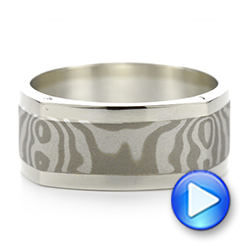 Custom Diamond Mokume Men's Wedding Band - Interactive Video - 103359 - Thumbnail