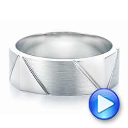 Custom Brushed Men's Wedding Band - Interactive Video - 103360 - Thumbnail