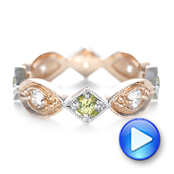Custom Two-Tone Peridot and Diamond Wedding Band - Interactive Video - 103365 - Thumbnail