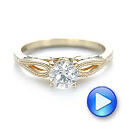 14k Yellow Gold Custom Diamond Solitaire Engagement Ring - Video -  103366 - Thumbnail