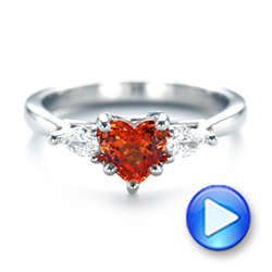 Custom Three Stone Orange Sapphire and Diamond Engagement Ring - Interactive Video - 103368 - Thumbnail