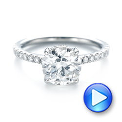 Platinum Custom Diamond Engagement Ring - Video -  103369 - Thumbnail