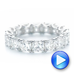 14k White Gold 14k White Gold Ideal Square Eternity Wedding Band - Video -  103370 - Thumbnail