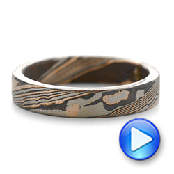 Custom Mokume Women's Wedding Band - Interactive Video - 103376 - Thumbnail