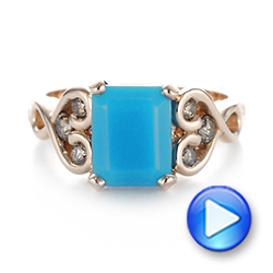 18k Rose Gold Custom Turquoise And Champagne Diamond Engagement Ring - Video -  103377 - Thumbnail