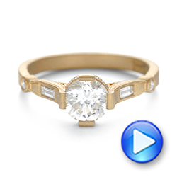 18k Yellow Gold Custom Sandblasted Diamond Engagement Ring - Video -  103379 - Thumbnail