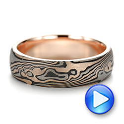 Custom Sandblasted Domed Mokume Men's Band - Video -  103387 - Thumbnail