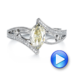 Custom Marquise Yellow and White Diamond Engagement Ring - Interactive Video - 103391 - Thumbnail