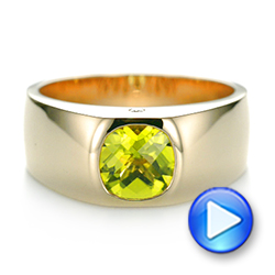 14k Yellow Gold Custom Peridot And Diamond Men's Band - Video -  103395 - Thumbnail