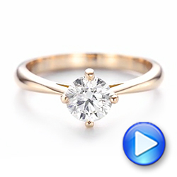 14k Rose Gold Custom Solitaire Diamond Engagement Ring - Video -  103396 - Thumbnail
