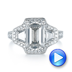 Custom Three Stone Diamond Halo Engagement Ring - Interactive Video - 103401 - Thumbnail