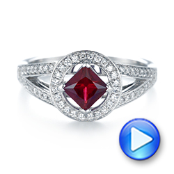 Platinum Platinum Custom Ruby And Diamond Halo Engagement Ring - Video -  103403 - Thumbnail