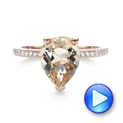 18k Rose Gold 18k Rose Gold Custom Morganite And Diamond Engagement Ring - Video -  103404 - Thumbnail
