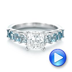 Platinum Custom Blue Topaz And Diamond Engagement Ring - Video -  103407 - Thumbnail