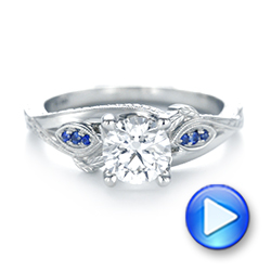 Platinum Custom Blue Sapphire And Diamond Engagement Ring - Video -  103409 - Thumbnail