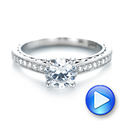 18k White Gold 18k White Gold Custom Filigree Diamond Engagement Ring - Video -  103412 - Thumbnail
