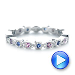 Custom Pink and Blue Sapphire Eternity Wedding Band - Interactive Video - 103429 - Thumbnail