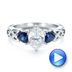 Platinum Custom Three Stone Blue Sapphire And Diamond Engagement Ring - Video -  103439 - Thumbnail