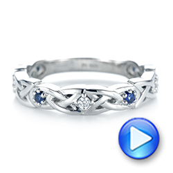 Platinum Custom Blue Sapphire And Diamond Wedding Band - Video -  103440 - Thumbnail