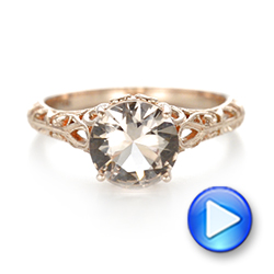 14k Rose Gold Custom Solitaire Morganite Engagement Ring - Video -  103444 - Thumbnail
