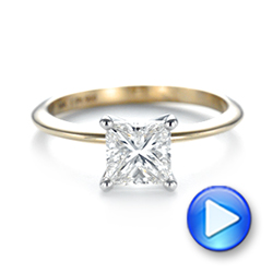 Custom Two-Tone Solitaire Diamond Engagement Ring - Interactive Video - 103447 - Thumbnail