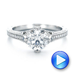 Platinum Custom Blue Sapphire And Diamond Engagement Ring - Video -  103448 - Thumbnail