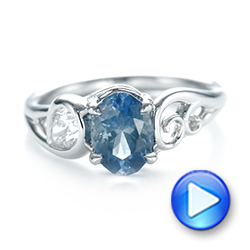 Platinum Custom Blue-green Sapphire And Diamond Engagement Ring - Video -  103450 - Thumbnail