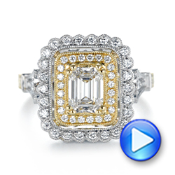 Custom Two-Tone Double Halo Diamond Engagement Ring - Interactive Video - 103455 - Thumbnail