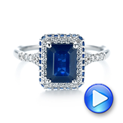 14k White Gold Custom Blue Sapphire And Diamond Halo Engagement Ring - Video -  103457 - Thumbnail