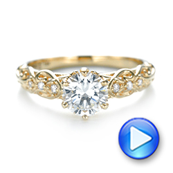 Custom Vintage Style Diamond Engagement Ring - Interactive Video - 103460 - Thumbnail