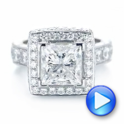 14k White Gold 14k White Gold Custom Diamond Halo Engagement Ring - Video -  103461 - Thumbnail