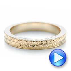 14k Yellow Gold Hand Engraved Wedding Band - Video -  103462 - Thumbnail