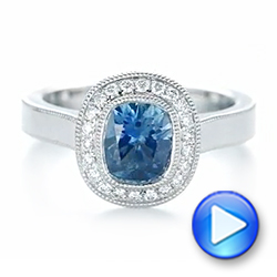 Platinum Custom Blue Sapphire And Diamond Halo Engagement Ring - Video -  103467 - Thumbnail