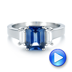 14k White Gold 14k White Gold Custom Three Stone Blue Sapphire And Diamond Engagement Ring - Video -  103468 - Thumbnail