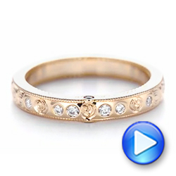 Custom Rose Gold Ruby and Diamond Wedding Band - Interactive Video - 103469 - Thumbnail