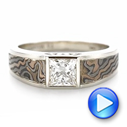 14k White Gold Custom Mokume Inlay Diamond Men's Wedding Band - Video -  103472 - Thumbnail