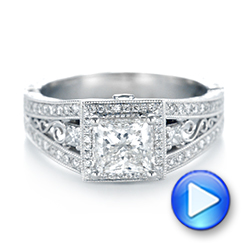 18k White Gold 18k White Gold Custom Hand Engraved Diamond Engagement Ring - Video -  103473 - Thumbnail