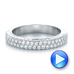 18k White Gold 18k White Gold Custom Edge-less Pave Diamond Eternity Wedding Band - Video -  103475 - Thumbnail