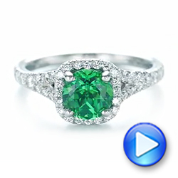 Platinum Custom Emerald And Diamond Halo Engagement Ring - Video -  103476 - Thumbnail