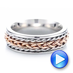 Platinum And 14k Rose Gold Custom Two-tone Braided Men's Band - Video -  103482 - Thumbnail