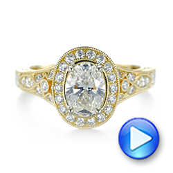 Two-Tone Yellow Gold Diamond Halo Engagement Ring - Interactive Video - 103483 - Thumbnail