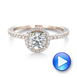 14k Rose Gold And 14K Gold Custom Two-tone Diamond Halo Engagement Ring - Video -  103486 - Thumbnail