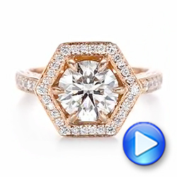 14k Rose Gold Custom Diamond Halo Engagement Ring - Video -  103489 - Thumbnail