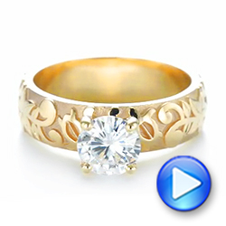 14k Yellow Gold Custom Solitaire Diamond Engagement Ring - Video -  103501 - Thumbnail